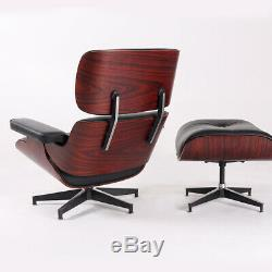 100% Genuine Leather Lounge Chair Ottoman Mid-Century Rosewood Black