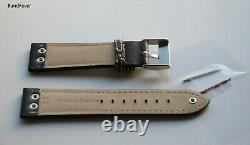 22MM Black Aviator Pilot with 3 SOLID Stainless Genuine Leather watch band strap
