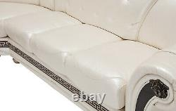 Apolo Sectional Sofa in Pearl Color 100% Genuine Italian Leather Left Side