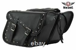 BLACK 15 REAL LEATHER Saddlebags With Studs & GUN HOLSTERS For Harley Davidson