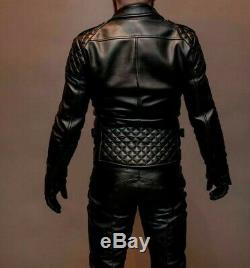 Biker Quilted BLUF Gay Brando Genuine Cowhide Biker Men Black Leather Jacket