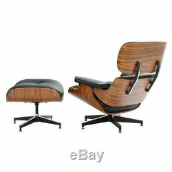 Black Genuine Leather Eames Lounge Chair and Ottoman Palisander Wood Top Quality