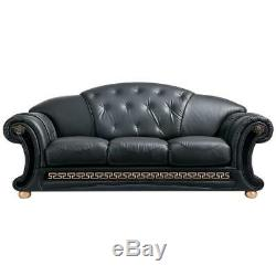 Black Genuine Leather Sofa-Bed Set withCoffee Table 4Pcs Made in Italy ESF Apolo