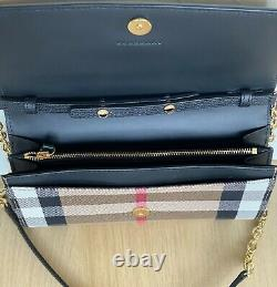 Burberry Women's Wallet Checkered Leather Chain Small Black New 100% Genuine