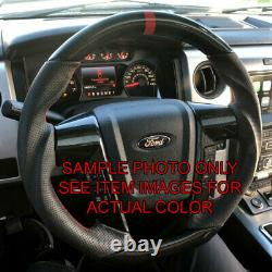 CUSTOM REAL CARBON FIBER For 2009-2014 Ford F150 Steering Wheel WithBlack Leather