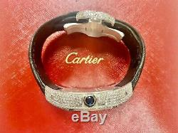 Cartier Santos 100 XL Iced Out 10ct Genuine Diamonds White Dial Stainless Steel
