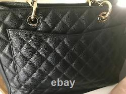 Chanel Grand Black Quilted Caviar Leather Shopping Tote 100% Genuine