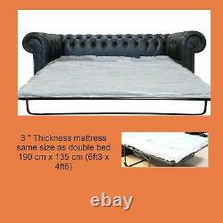 Chesterfield New 3 Seater Sofa Bed Premium Black Real Leather Sofa Settee Couch