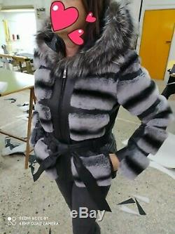 Chinchilla fur Rex coat grey black fox leather genuine