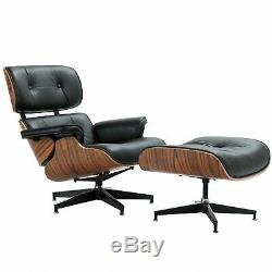 Classic Lounge Chair & Ottoman With Top Black Real Leather Palisander Wood
