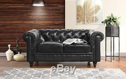 Classic Scroll Arm Real Italian Leather Chesterfield Love Seat Sofa, Black