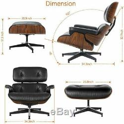 Classic eames Lounge Chair and Ottoma Black Real Full Leather Palisander Wood