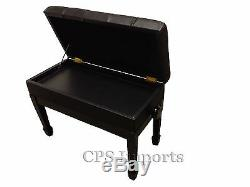 Duet Size GENUINE LEATHER Ebony Adjustable Artist Piano Bench/Stool/Chair