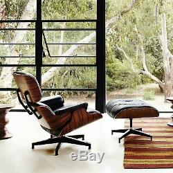 Eames Lounge Chair and Ottoman- 100% Genuine Leather BLACK Leather & Rosewood EP
