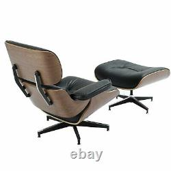Eames Lounge Chair and Ottoman Italian Black Leather Real Walnut Wood Soft 330lb