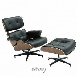 Eames Lounge Chair and Ottoman Italian Black Leather Real Walnut Wood US