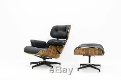 Eames Plywood Lounge Chair & Ottoman 100% Genuine Leather Black
