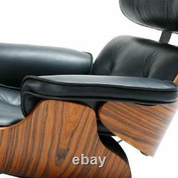 Eames Style Lounge Chair & Ottoman Top Quality Ash Wood Black Genuine Leather US