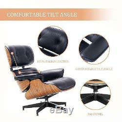 Fits Eames Lounge Chair Style and Ottoman Genuine Rosewood Italian Leather Black