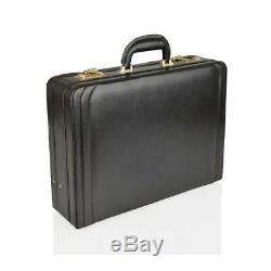 Genuine 100% Leather Executive Black Only Attache Case / Briefcase