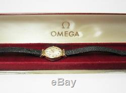 Genuine 9ct (375, 9K) Omega Vintage Ladies, Thin Leather Band Watch