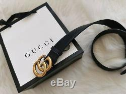 Genuine GUCCI Women`s Belt Leather 85 cm 34 inches Black Double GG Buckle Access