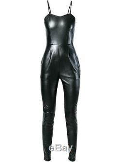 Genuine Leather Overall Dungaree Jumpsuit Dress Plunging Neck Straight Fit Sale