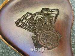 Genuine Leather Royal Enfield Classic Antique Brown Sportster Style solo seat