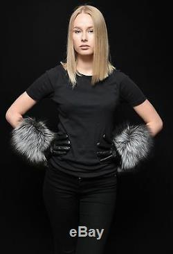 Genuine Leather Silver Fox Fur Fall/Winter Handmade Long Gloves