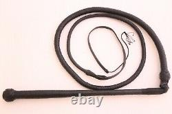 Genuine Leather Stock Whip, 6 Feet, 12 Plaited, Double Belly, Heavy Duty Black Whip