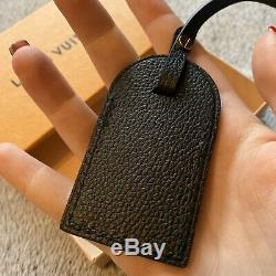 Genuine Louis Vuitton Black Empreinte Luggage Tag New Small Size Soft Leather