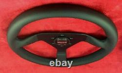 Genuine Momo Monte Carlo black leather 350mm steering wheel with horn button