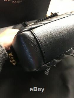 Genuine YSL bag in black leather with gold hardware