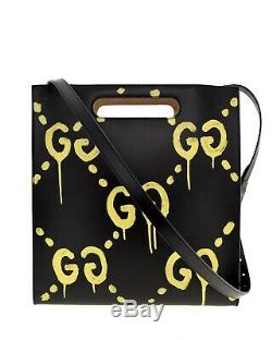 Gucci Ghost Real Tote Black Leather Shoulder Bag New