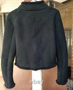 Kookai Real Lamb Leather Shearling Fur Suede Jacket Bomber S/M
