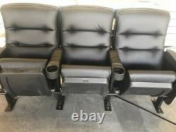 Lot 10 used HOME THEATER SEATING real cinema movie chairs seats black leather et
