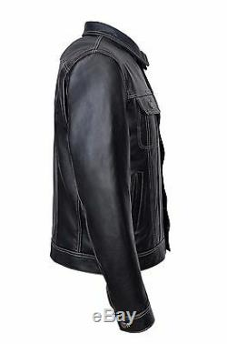 Men TRUCKER Jacket Classic Black 100% REAL Cowhide Leather Classic Style 1280