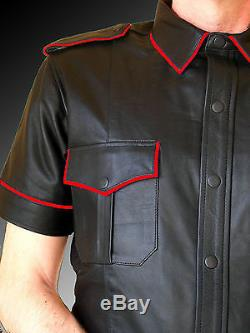 Men's Hot Police Complete Uniform Bluff Gay Genuine Black Sheep/cowhide Leather