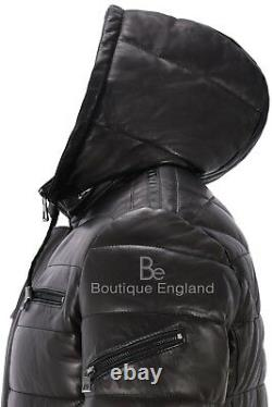 Men's Puffer Hooded Real Lambskin Napa Leather Sport Jacket Fully Quilted 2006