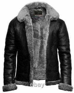Men's RAF Aviator B3 Flying Bomber Sheep Skin Real Leather Jacket Black Grey