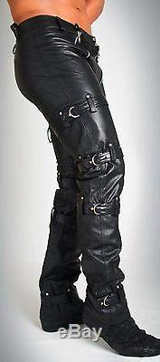 Men's Real Cowhide Leather Carpenter Pants / Trousers Restraint Leather Pants