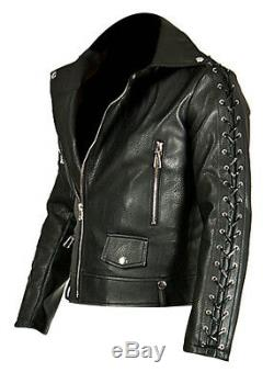 Men's Real Leather Bikers Laces Up Jacket Cowhide Leather Bikers Jacket