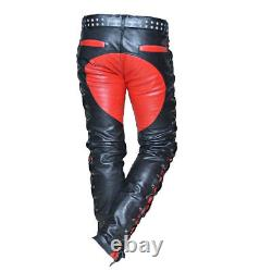 Men's Real Leather Bikers Pants Side And Front Laces Up Contrast Leather Pants