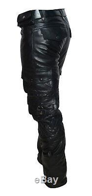 Men's Real Leather Bikers Pants With Quilted Panels And Cargo Pockets M. TO. ORDER