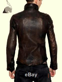 Men's Shirt Genuine Real Antique Waxed Sheep Casual Soft Leather Shirt