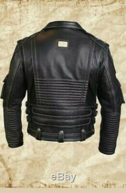 Mens Biker Distressed Harley Davidson Motorcycle Real Cow Fashion Leather Jacket