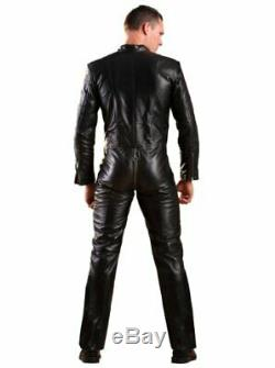 Mens Genuine Soft Sheep Leather Catsuit Overall Bodysuit Jumpsuit