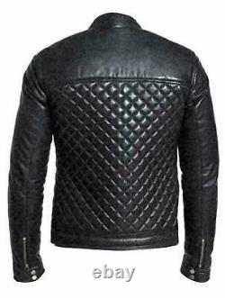 Mens Quilted Motorcycle Cafe Racer Black Biker Real Leather Jacket
