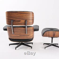 Mid-century EAME-S lounge chair & ottoman Genuine Leather Armchair Palisander
