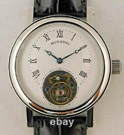 Minorva 1 Minute Real Flying Tourbillon Stainless Steel Mens Watch. 39mm